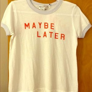 Wildfox Maybe Later Maybe Never Ringer Tee